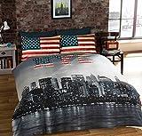 QUEEN SIZE (230 X 220CM - UK KING SIZE) NEW YORK CITY AMERICAN REVERSIBLE COTTON BLEND BLUE COMFORTER DUVET COVER