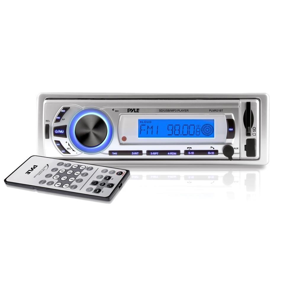 Pyle Marine Bluetooth Stereo Radio - 12v Single DIN Style Digital Boat In dash Radio Receiver System with Built-in Mic, Digital LCD, RCA, MP3, USB, SD, AM FM Radio - Remote Control - PLMR21BT (White)