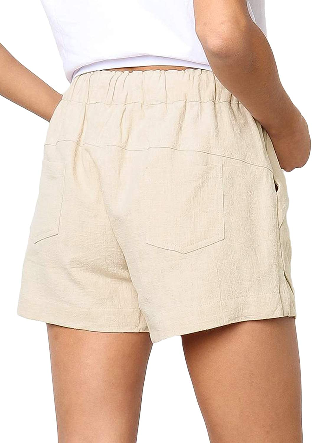LOSRLY Women Petite Cotton Drawstring Elastic Waist Casual Comfy Solid Linen Shorts with Pockets Beige S