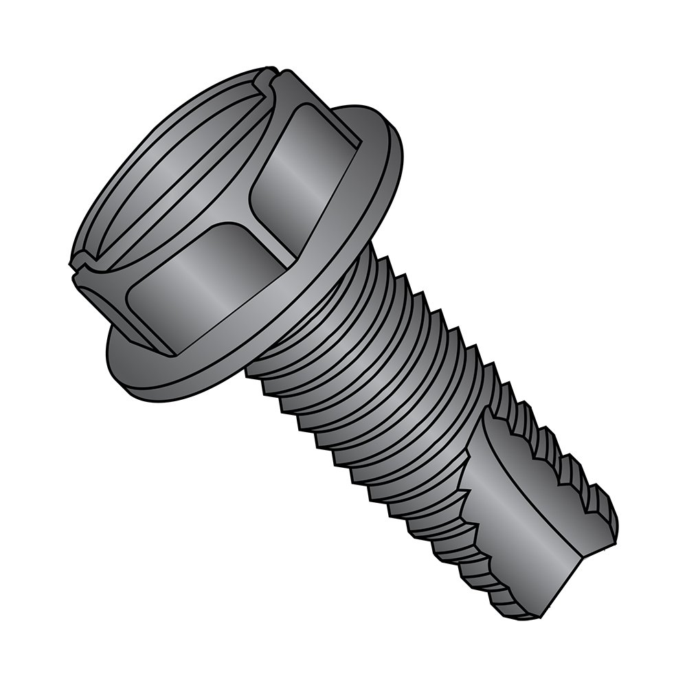 Small Parts 14163SWB Pack of 25 1 Length Steel Thread Cutting Screw 1//4-20 Thread Size 1 Length 1//4-20 Thread Size Hex Washer Head Type 23 Slotted Drive Pack of 25 Black Oxide Finish