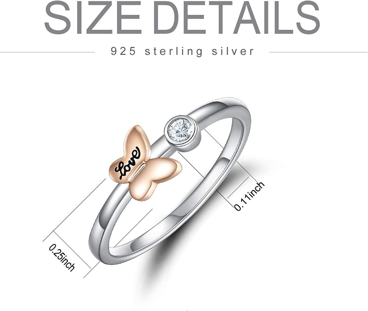 ROMANTICWORK Butterfly Rings for Women Sterling Silver Thin Band Love Promise CZ Ring Butterfly Jewelry Anniversary Wedding Birthday Gift for Her Teen Girls Lover
