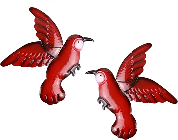 Scwhousi Metal Birds Wall Decor Outdoor Garden Fence Patio Art,Hanging Decorations for Living Room,Set of 2,Red