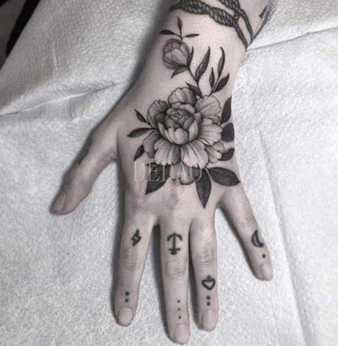 Tatuaje temporal falso tatuaje pegatina flor rosa flash tatuaje ...