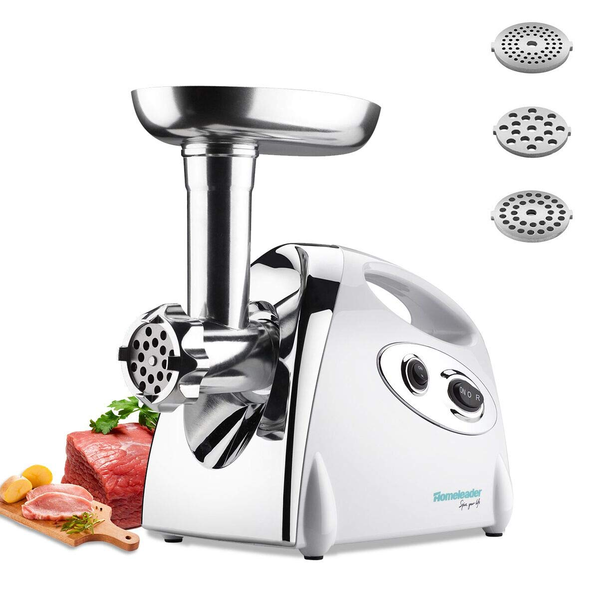 Homeleader Meat Grinder, Sausage Maker with Reverse Function, Big Capacity Stainless Steel With 3 Grinding Plates, 800w, ETL Approved by Homeleader