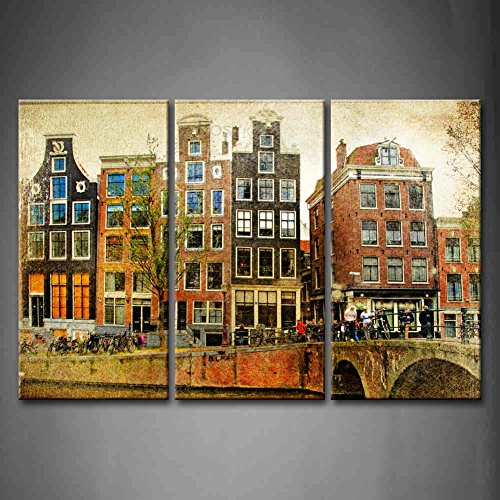 3 Panel Wall Art Amsterdam Retro Styled Picture Bridge River Tree Houses Vehicle Painting Pictures Print On Canvas Architecture The Picture For Home Modern Decoration piece (Stretched By Wooden Frame,Ready ()