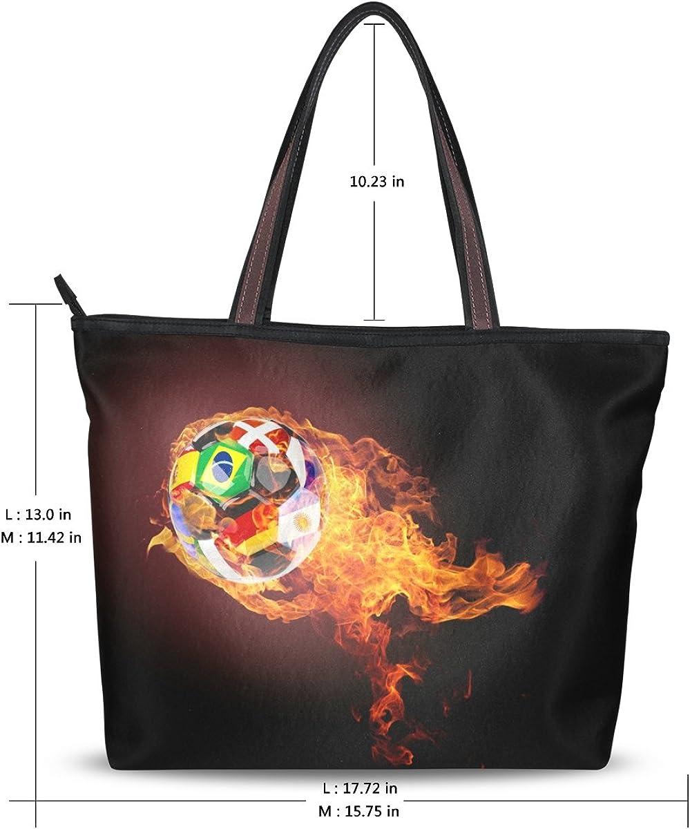 WIHVE Soccer Ball Flame Womens Tote Bag Top Handle Satchel Handbags Shoulder Bags