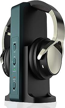 Auriculares inalámbricos para TV, con estación de carga digital de 2,4 GHz, para televisores HiFi DVD, transmisor con puerto óptico y AUX: Amazon.es: Electrónica