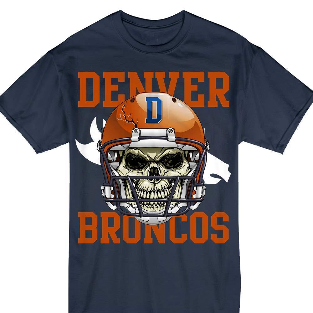 Denver Orange Cool Champions Football Helmet Skull Tshirt