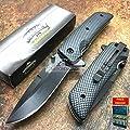 Only US MASTER USA Carbon Fiber Camo Black Tatical Hunting Rescue Pocket Knife MU-A005CF