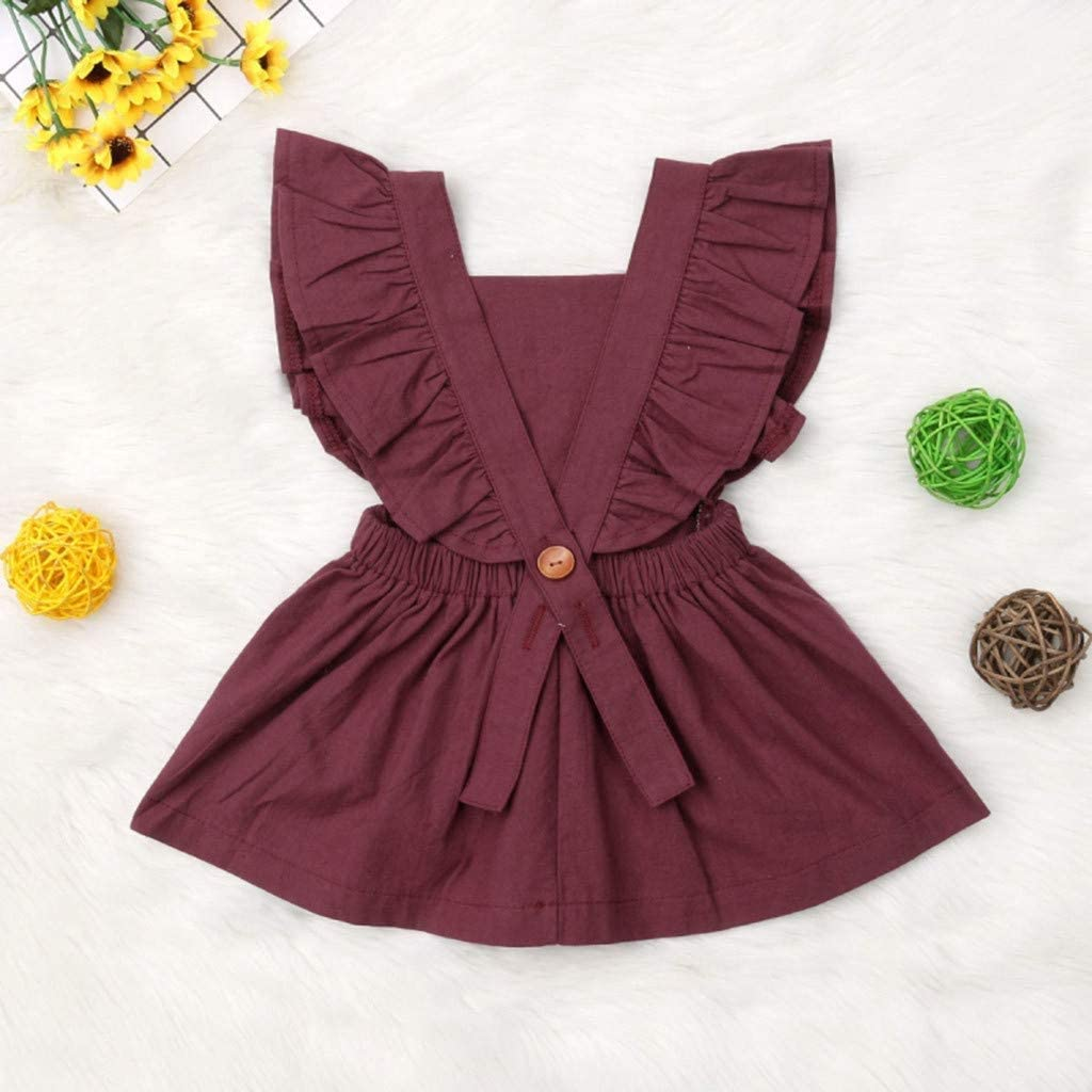 Color : Wine, Size : XX-Large FCQNY Newborn Baby Girl Ruffle Sleeve Rompers Backless Bodysuits Jumpsuits Dress