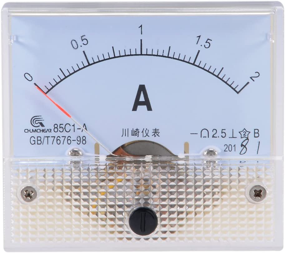 sourcing map Medidor de panel de corriente anal/ógica 85C1 DC 20mA Amper/ímetro para pruebas de circuito Amper/ímetro Tester Gauge 1 PCS