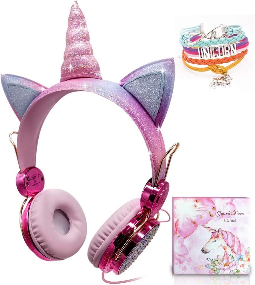 Auriculares Unicornio para Niños, Auriculares con Oreja para Niñas Auriculares Lindos con Cable 85dB Volumen Limitado, Navidad/Regalo de Cumpleaños para Niñas, Auriculares para Kindle/iPad (Wired)