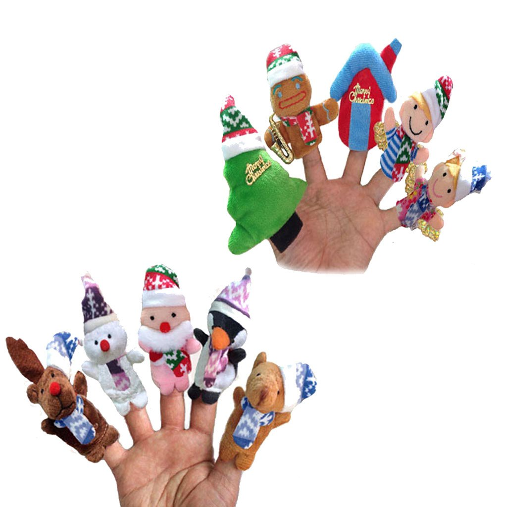 10 Pcs Finger Puppets Set Christmas Hand Sock Glove Thinkbay