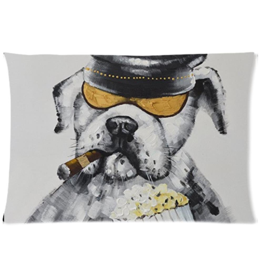 LiFei Business Cool Bulldog Watching Movie Custom Pillowcase 20''x30'' Two Sides Pillow Case