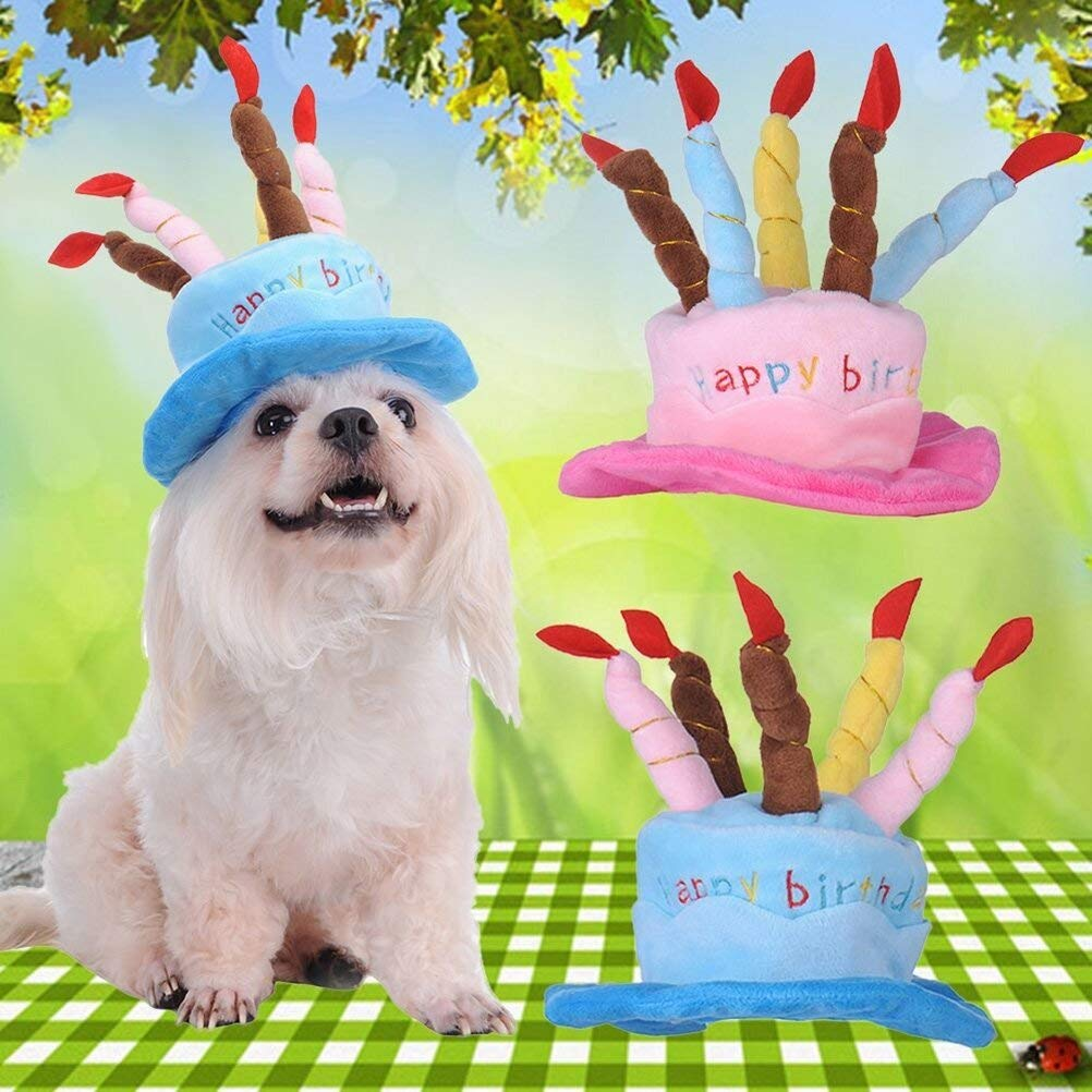 Pink Smileuep Pet Birthday Hat for Dogs and Cats Reusable Birthday Party Headband Hats