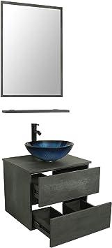 Wall Mount Mirror Artistic Glass Vessel Sink Faucet Drain Orb Single Cabinet Shelf Storage Shelf Suite 2 Doors Top Mdf Eco Wooden Modern Oak Rectangular Luckwind Bathroom Vanity Vessel Sink Combo Tools