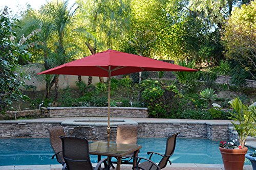 Jeco 6.5′ x 10′ Aluminum Patio Market Umbrella Tilt with Crank in Burgundy Fabric Bronze Pole Review
