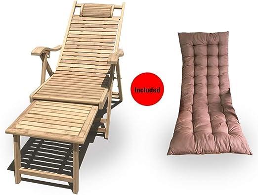 NO BRAND Tumbonas Jardin portátil Fuera de bambú Plegable Ajustable para Tomar el Sol de jardín