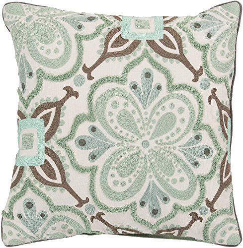 Surya Kate Spain KS012-2020P Synthetic Fill Pillow, 20 by 20-Inch, Sea Foam by Surya