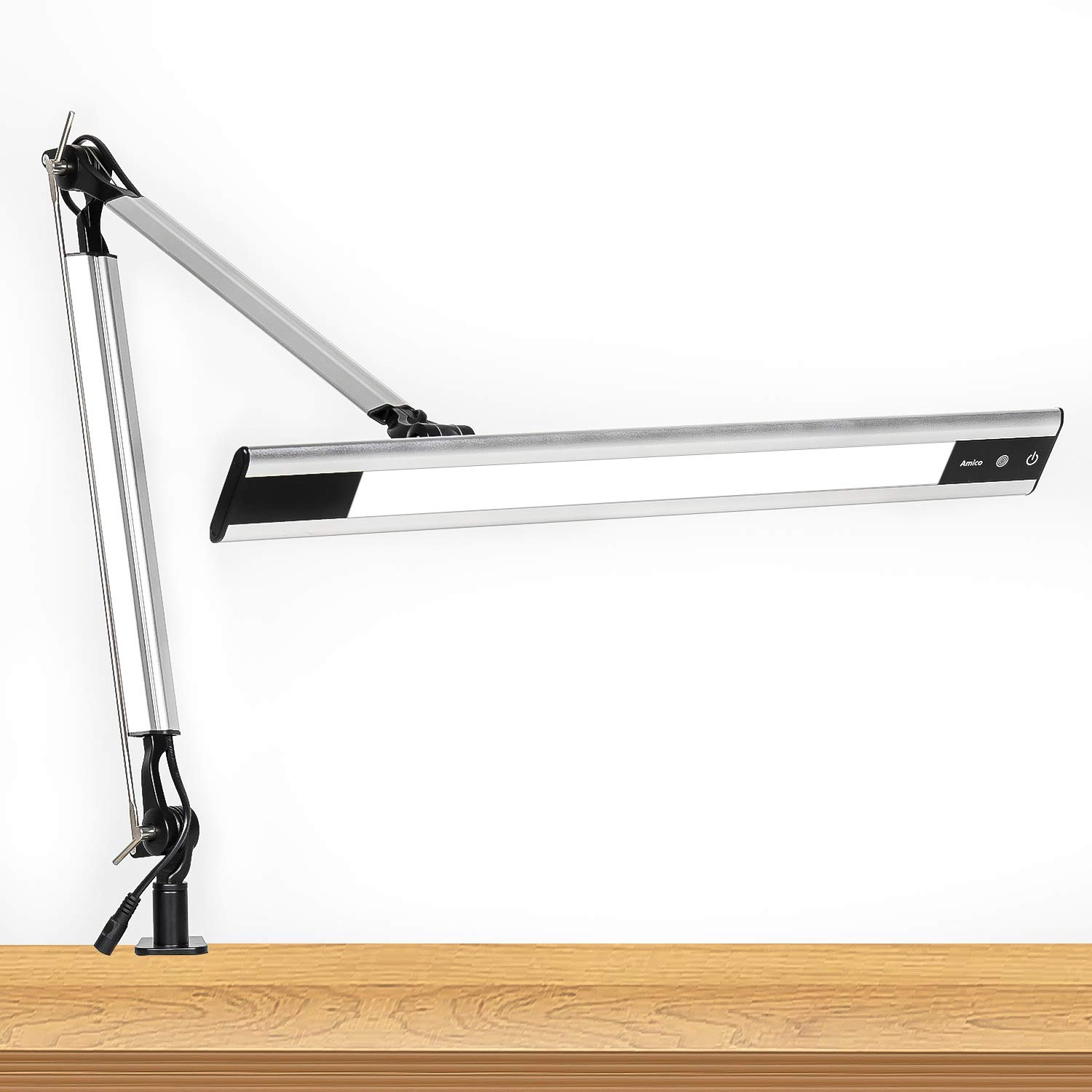 Amico 11W LED Architect Desk Lamp/Clamp Lamp/Metal Swing Arm Task Lamp (Eye-Protective, Touch Control, 4-Level Dimmer/4 Lighting Modes, Memory Function) Adjustable Drafting Work/Office Light