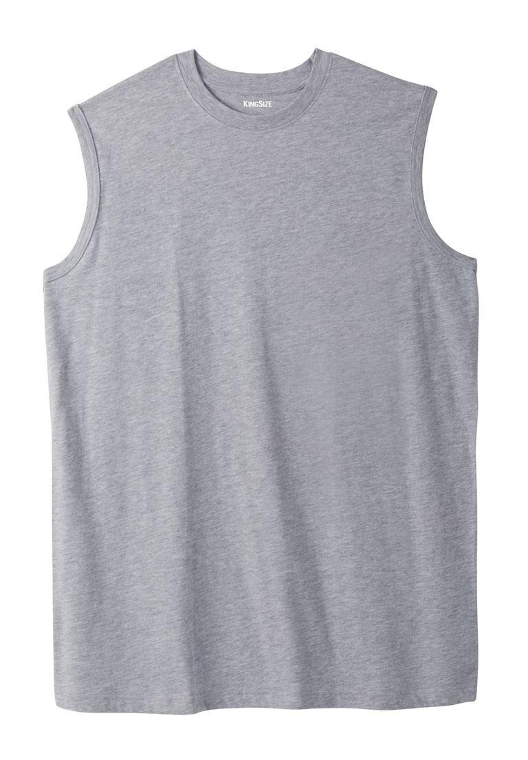 KingSize Lightweight Cotton Muscle Shirt, Heather Grey Big-2Xl