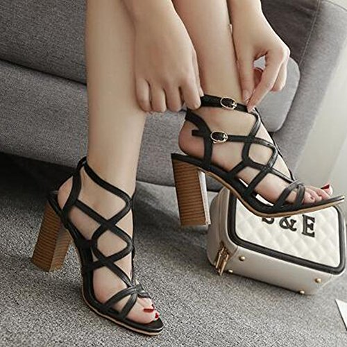 Womens Sandals High Heel Easemax Chunky Sexy Black Buckle Open Gladiator Strappy Toe Ankle d8FvPx8