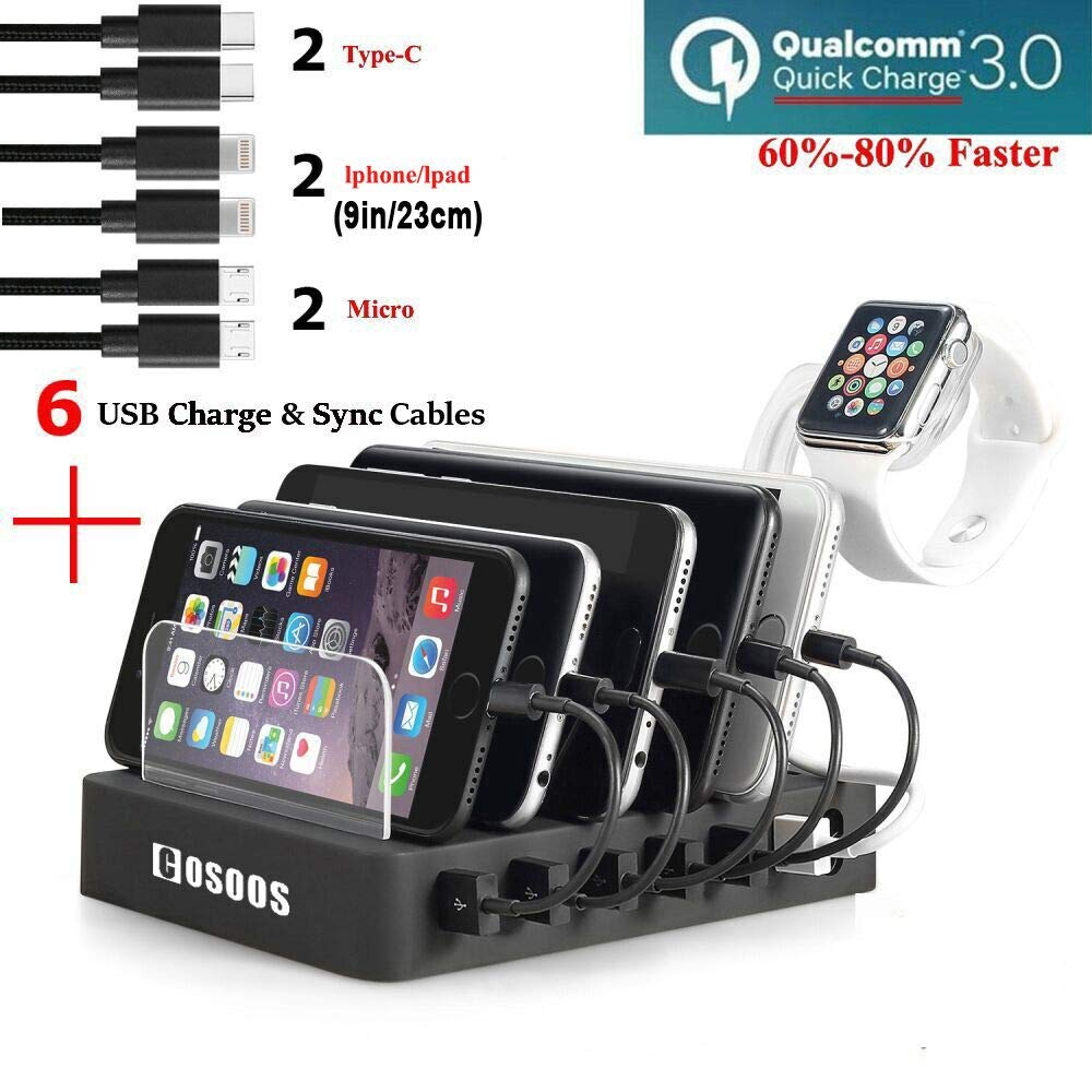 COSOOS Fastest Charging Station with QC 3.0 Quick Charge,6 USB Cables(3 Types),iWatch Holder,Universal 6-Port Charger Station Dock,Charging Docking Stand for Multiple Devices,Phones,Tablets