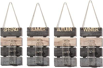 Autumn Sziqiqi Set di 2 Mason Jar Vasi in Vetro da Appendere alla Parete Terrario Sospeso Decorazione da Parete per Casa all Aperto al Coperto