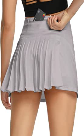 Raroauf Women's Tennis Skort Active Pleated Skirts with Pocket for Running Golf
