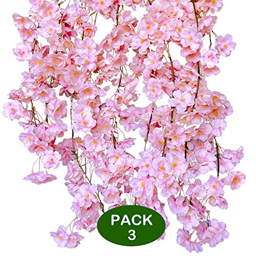 Supla 17.7' (3 Pack) Fake Artificial Cherry Blossom Flower Pink Garlands Vines Strings Silk Japanese Sakura Flowers Hanging Cherry Blossom Vines in Light Pink for Wedding Arch Party Indoor/Outdoor (Cherry Light Blossoms Pink)