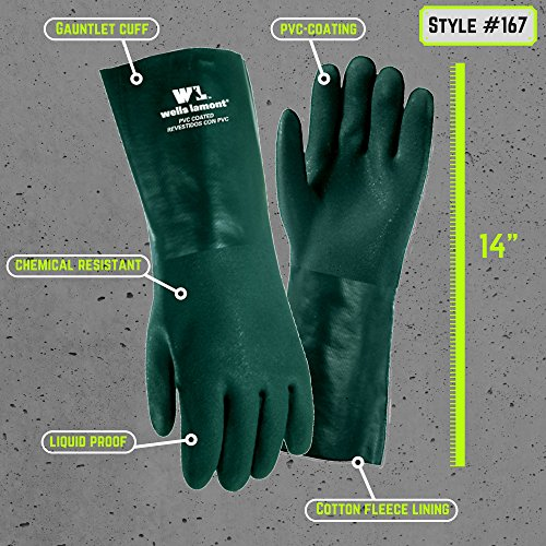 Chemical Resistant Gloves 14inch, PVC Coated Gloves, Cotton Fleece Lining, One Size (Wells Lamont 167L)