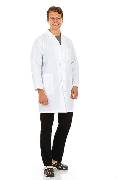 8c6ad7ae45f Mens White Lab Coat Uniform - Professional 5 Button, Side Slit to Pants  Pocket,