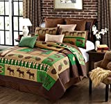 Virah Bella Primitive Rustic Moose Wilderness Lodge Quilt and Sham Set 3 Piece (Green/Brown, Queen/Full)