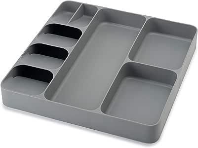 Joseph Joseph 85127 DrawerStore Organizer Tray, Utensil and Gadgets, Gray, 15.6 x 15.1 x 2.1 Inches (Pack of 1)