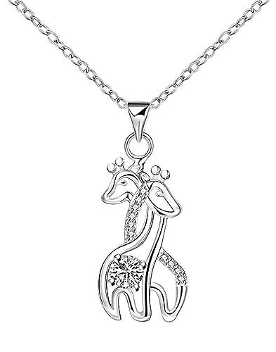 Amazon godyce giraffe pendant necklace sterling silver plated godyce giraffe pendant necklace sterling silver plated for women crystal jewelry gift aloadofball Choice Image