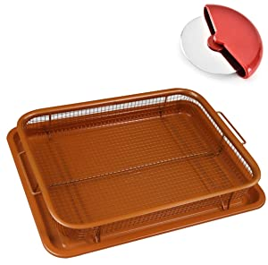 UPGRADED Deluxe Copper Crisper - Air Fryer in Oven - 2-Pieces Nonstick Pan/Tray & Mesh Basket Set for French Fry, Bacon, Frozen Food Baking without Oil -Free Pizza Cutter Slicer Wheel - Rectangle