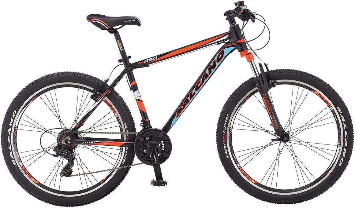 Salcano NG650 26 Wheel Mens Mountain Bike 21 Speed 18 Lightweight Alloy Frame Front Suspension Black//Orange//Blue Ammaco