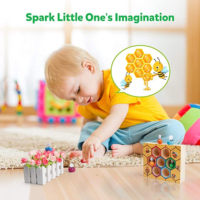 Preschool Educational Toy for 2 3 4 Years Old Children Wooden Toddler Fine Motor Skill Toy,Clamp Bee to Hive Matching Game CS COSDDI Color Sorting Toys