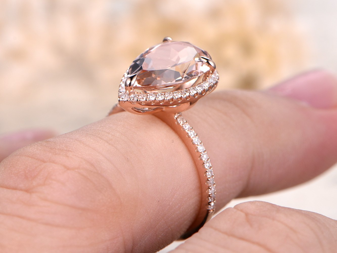 Amazon.com: Natural Pink Morganite Engagement Ring,8x12mm Pear ...