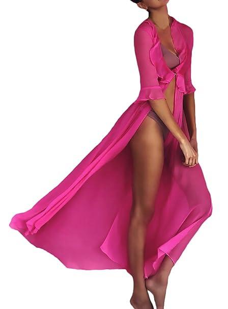 68eaf4b990e8b5 Vestito Mare Donna Bikini Cover Up Eleganti Abito Estivi Con Volant Manica  Corta V Neck Vestito Lungo Rose Casual Vacanza Abito Lungo Ragazza  Abbigliamento: ...