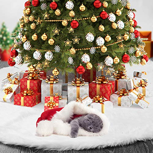 TOBEHIGHER Christmas Tree Skirt - 48 Inches White Christmas Tree Skirt, Luxury Soft Faux Fur Tree Skirt, Pet Favors for Xmas Tree Decorations and Ornaments Fluffy Short Fur