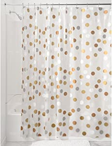 "iDesign Gilly Dot PEVA Shower Curtain, Mold & Mildew Resistant, Water Repellent - 72"" x 72"", Metallic"