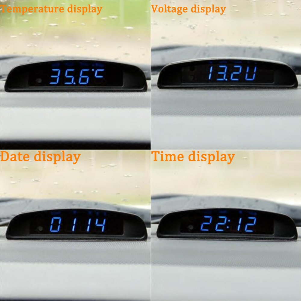 Amazon.com: Boomboost 4In1 Car Date Clock Voltmeter Thermometer Voltage Monitor 12V Original Car Interior Exterior Multi- Function: Automotive