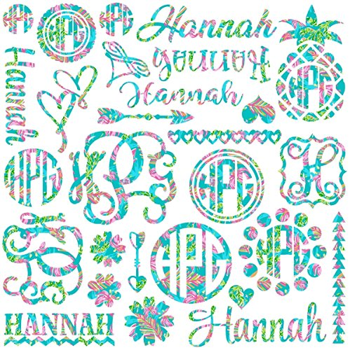 Choose From 6 Patterns - Monogram and Name Decal Assortment