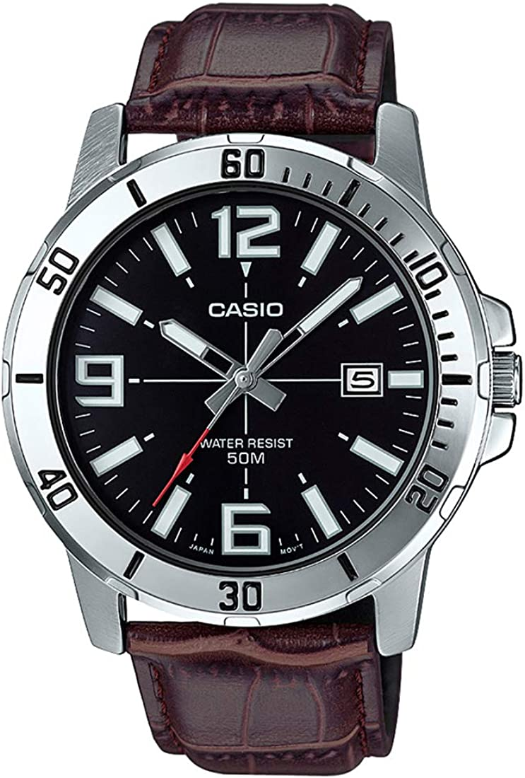 Casio MTP-VD01L-1BV - Reloj Deportivo analógico Casual para Hombre, Acero Inoxidable, Esfera Negra