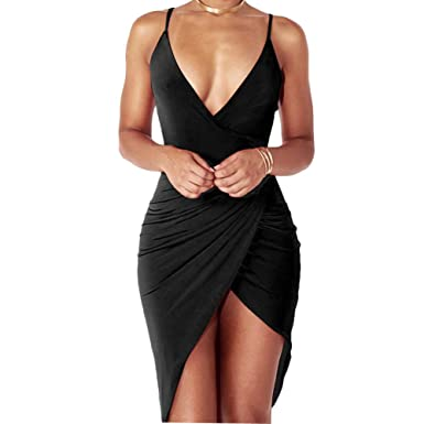 c31e72a80f Anddyam Women s Sexy Deep V Neck Sleeveless Strap Bodycon Wrap Dress With  Front Slit Club Dresses