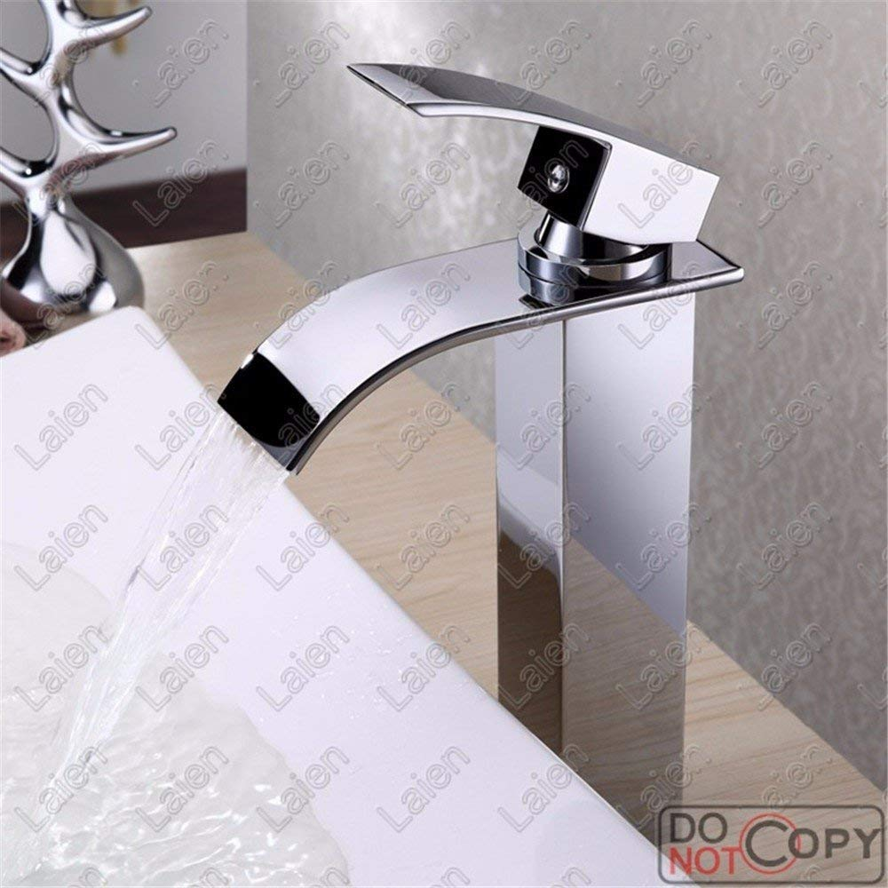 FAUCET HOME Silver Heightening Waterfall Outlet Hot Cold Water Ceramic Valve Single Hole Single Handle Bathroom Basin Faucet