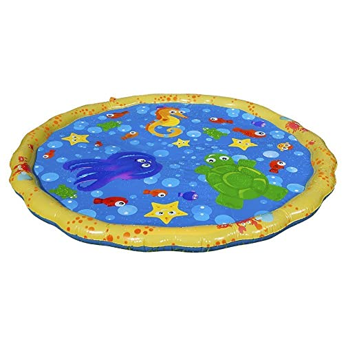 Banzai 54 Inch Sprinkle & Splash Play Mat with yellow sides and blue centre decorated with sea creatures