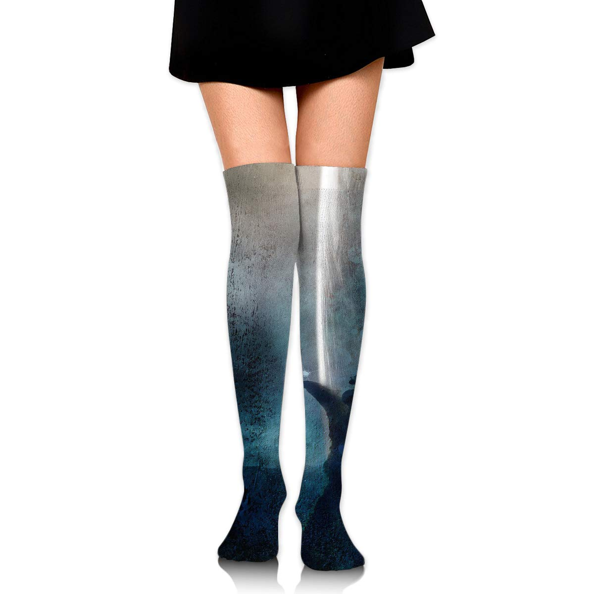 High Elasticity Girl Cotton Knee High Socks Uniform Swimming Whales Women Tube Socks