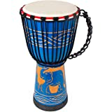 lotmusic Djembe African Drum Bongo Congo Stardard Size Mahogany Goatskin Drumhead professional (9'', Blue)